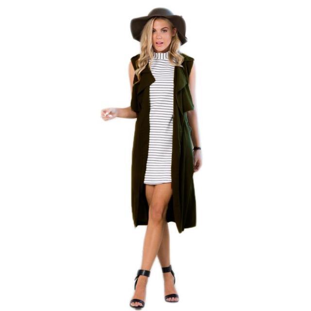 JECKSION Длинный Жилет Пальто 2016 Женская Мода Блейзер Пиджак Зеленый с Поясом Дамы Пальто Доставка # LN