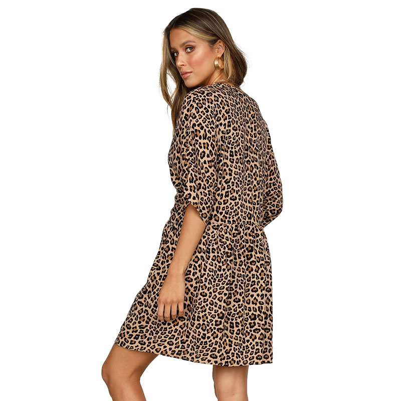 SEBOWEL Summer Leopard Print Floral Dress 2019 Woman V Neck Button Half Sleeves Swing Shirt Dresses for Female Party Size S XL in Dresses from Women 39 s Clothing