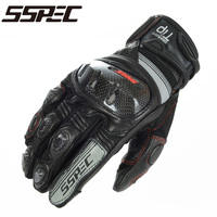 SSPEC NEW Motorcycle Gloves For KOMINE Breathable Dry Leather Carbon Fiber 3D Knight Riding Glove Motocross
