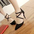 Women Suede Pumps High Heels Women Ankle Strap Pumps Sexy Shoes Women Pointed Toe Thin Heel Zapatos Mujer Ladies Wedding Shoes