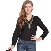 2017 New Arrive Hot Fashion Vintage Women Shirt Blouses Solid V-Neck Long-sleeve Chiffon Shirt Blouse Plus Size Clothing Spring