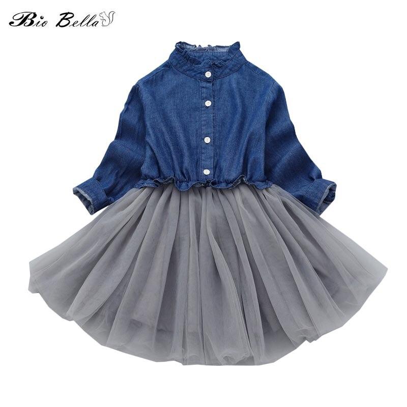 La manera Princesss vestido precioso Partido de la muchacha del otoño Casual manga larga algodón niños piensan tutú ropa encantadora 2018 verano