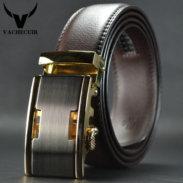 VACHECUIR véritable ceintures en cuir pour hommes brun de peau de vache de  haute qualité Automatique Boucle sangle hommes ceinture ceinture homme de  luxe ... fae2d92d260