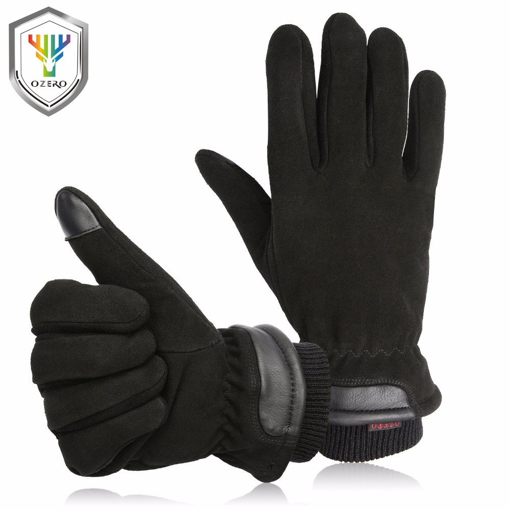 OZERO Motorcycle Gloves Touch Screen Winter -20F Cold Proof Thermal Men's Warm Deerskin Leather Moto Racing Ski Gloves 8011