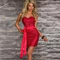 Женщины 2015 Whoelsale Цена Горячие Продажа Мода Синий Женщины Sexy Party Dress W3206C Летний Стиль Мини-Клуб Блесток Короткие dress