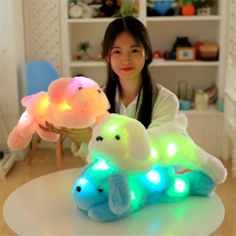 1pcs 50cm Luminous Dog Plush Doll Colorful LED Luminous Dog Children Toy Girl Kidz Birthday Gift
