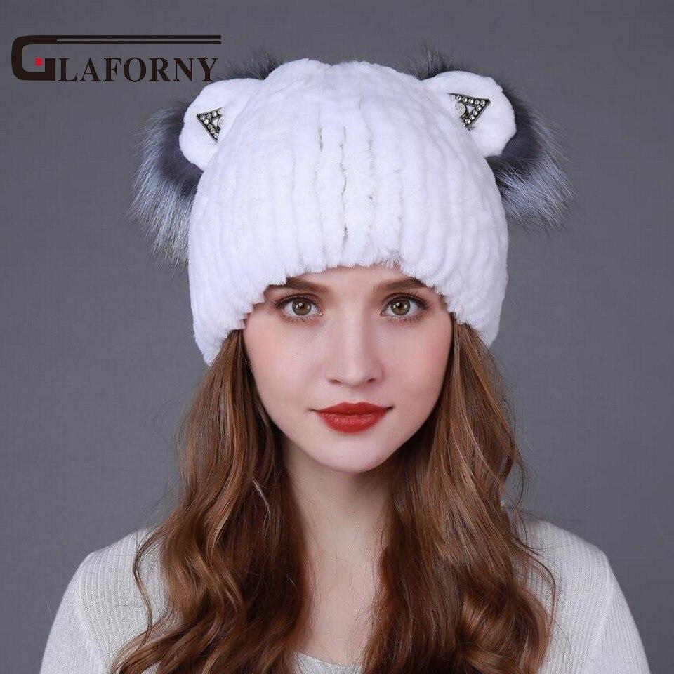 Glaforny женская меховая шапка из натурального меха кролика рекс с Silve Fox Lovely Cat шапки с ушками Новая Мода хорошее качество женская шапка