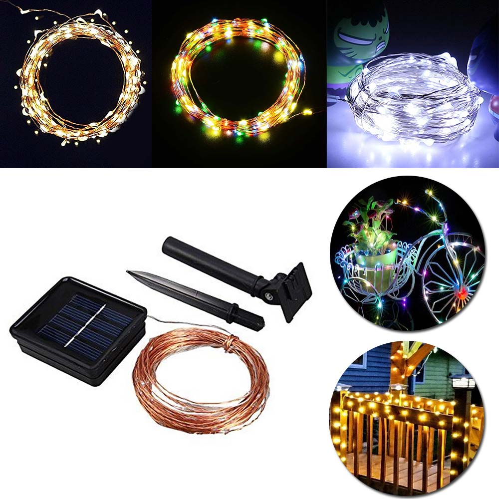 Solar Power String Light Vattentät LED Strip 10m 100 LED Koppar Led lampa Varm Vit För Utomhus Jul dekoration ljus