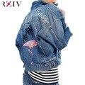 Rziv 2017 primavera do sexo feminino jaqueta jeans casuais dupla bolso decorado denim jacket clothing bordados mulheres do revestimento do revestimento