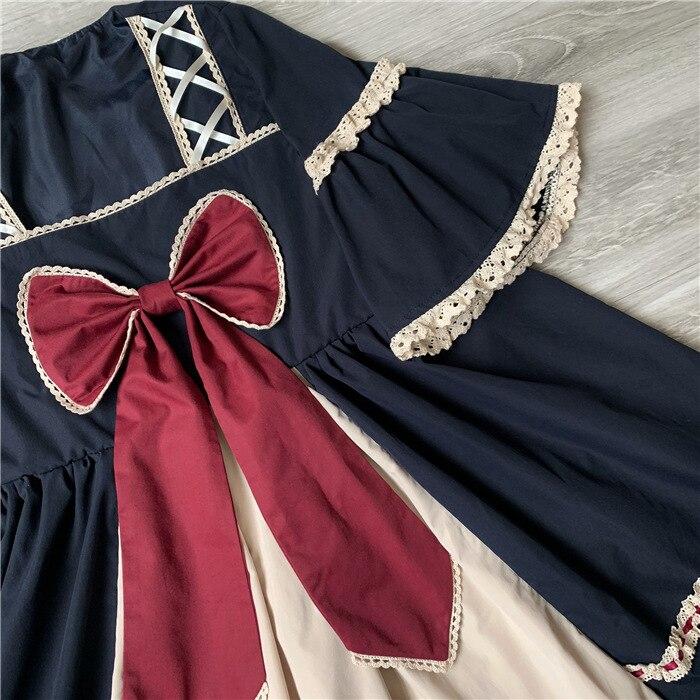 اليابان لوليتا نمط اللباس الحلو القوس مضيئة كم قصيرة تصميم الأميرة فساتين كبيرة الحجم لطيف مربع طوق القوطية لوليتا المرجع-في فساتين من ملابس نسائية على  مجموعة 3