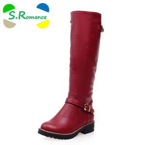 S.Romance Women Boots Plus Low Square Heel Winter Shoes Red