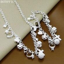 цена Hot Sale Necklace Bracelet 925 Silver Fashion Jewelry Set For Women Silver Pendant Necklace Bracelet Set онлайн в 2017 году