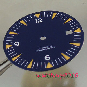Image 4 - Neue 31mm blau zifferblatt weiß Zahlen datum fenster fit automatische bewegung herren Uhr zifferblatt