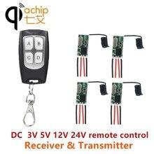 Qiachip universal sem fio interruptor de controle remoto 433 mhz dc 3 v 24 v rf receptor 433 mhz diy kit & transmissor para luz led