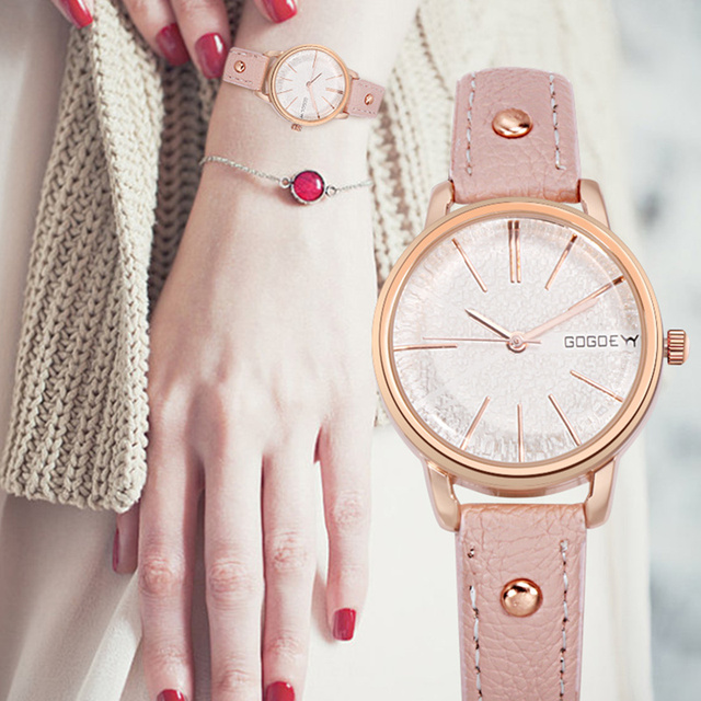 Gogoey Luxury Rose Gold Women's Watches Leather Band Watch Women Watches Fashion