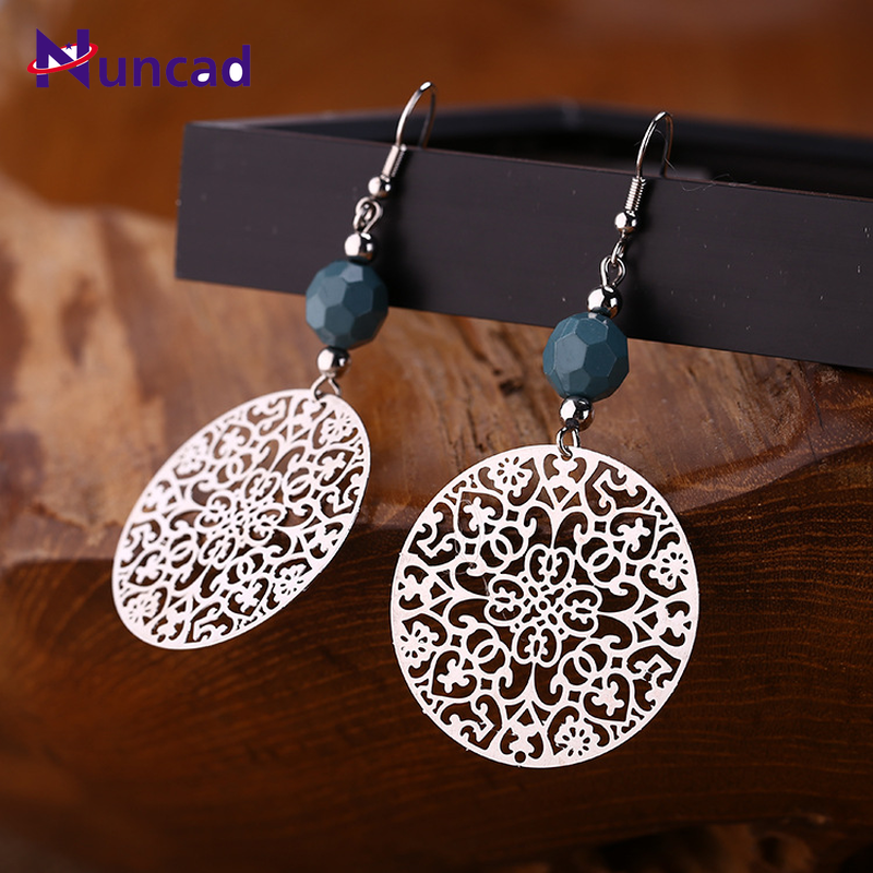 2019 Fashion New Products Hollow Complex Round Dangle Earrings Erings for Women Travel Party Zinc Alloy
