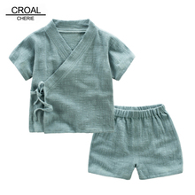 CROAL CHERIE 2pcs Kids Boy T Shirt + Shorts Clothing Sets Summer Breathable Linen Girls Tops Childrens Solid Casual Tee