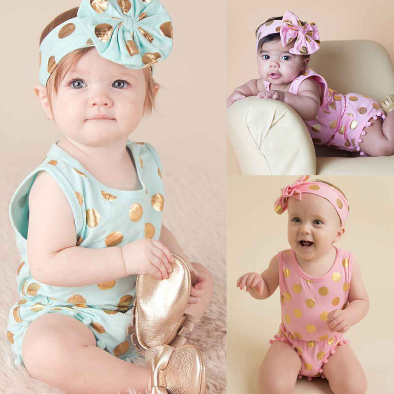 043b5cc8462 ... Headband Casual Romper Jumpsuit Baby Girl Clothes Gold Polka Dot Cotton  Sleeveless Outfits Set Baby Girl ...