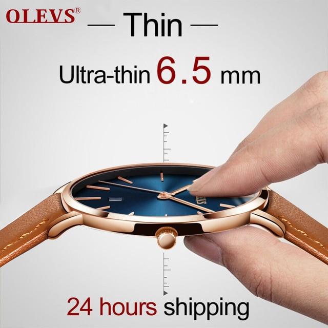 Männer Uhren Luxus Marke Olevs Quarz Echtes Leder Strap Minimalistischen Ultradünne Handgelenk Uhren Wasserdichte Hohe Qualität Relogio