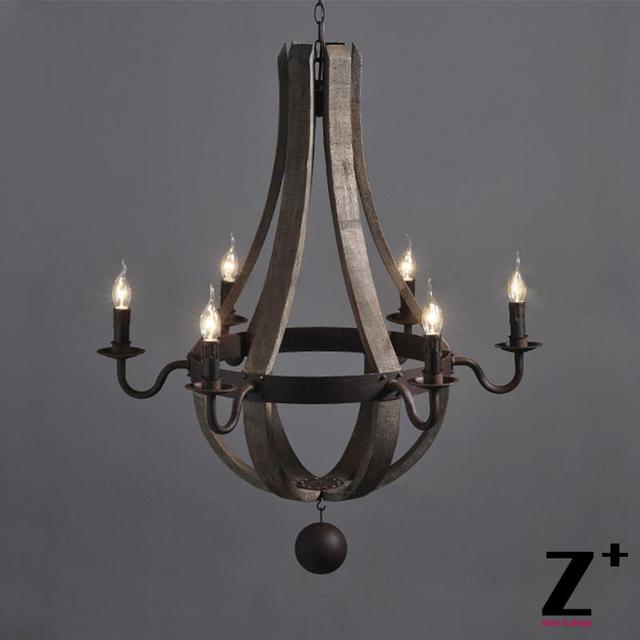 Vintage Wrought Iron Metal Wood Chandelier 6 Lights Ball Free Shipping