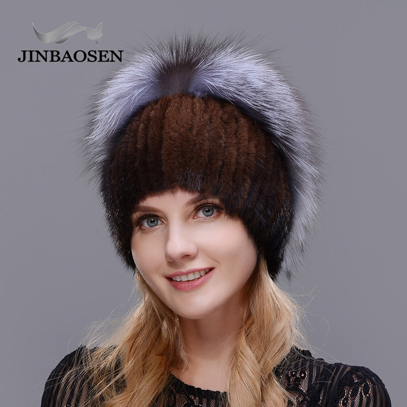 2019 Russian Woman Winter Travel Fashion Fur Hat Real Mink Fur Silver Fox Fur Hat Wool Knit Liner Ski Hat Handmade Free Send