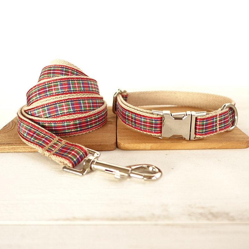 GLORIOUS KEK Scotland Tartan Dog Collars Designer Self-Designed Pet Collars Leash Set Custom Name Quick Release Big Dog Collars tartan