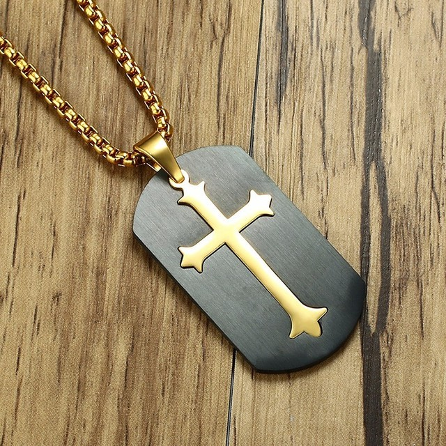 Two Tone Budded Dog Tag Pendant for Men with Chain