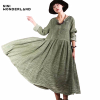 New 2017 Autumn Cotton Linen Large Bottom Vintage Dresses Women V Neck Long Sleeved Loose Casual
