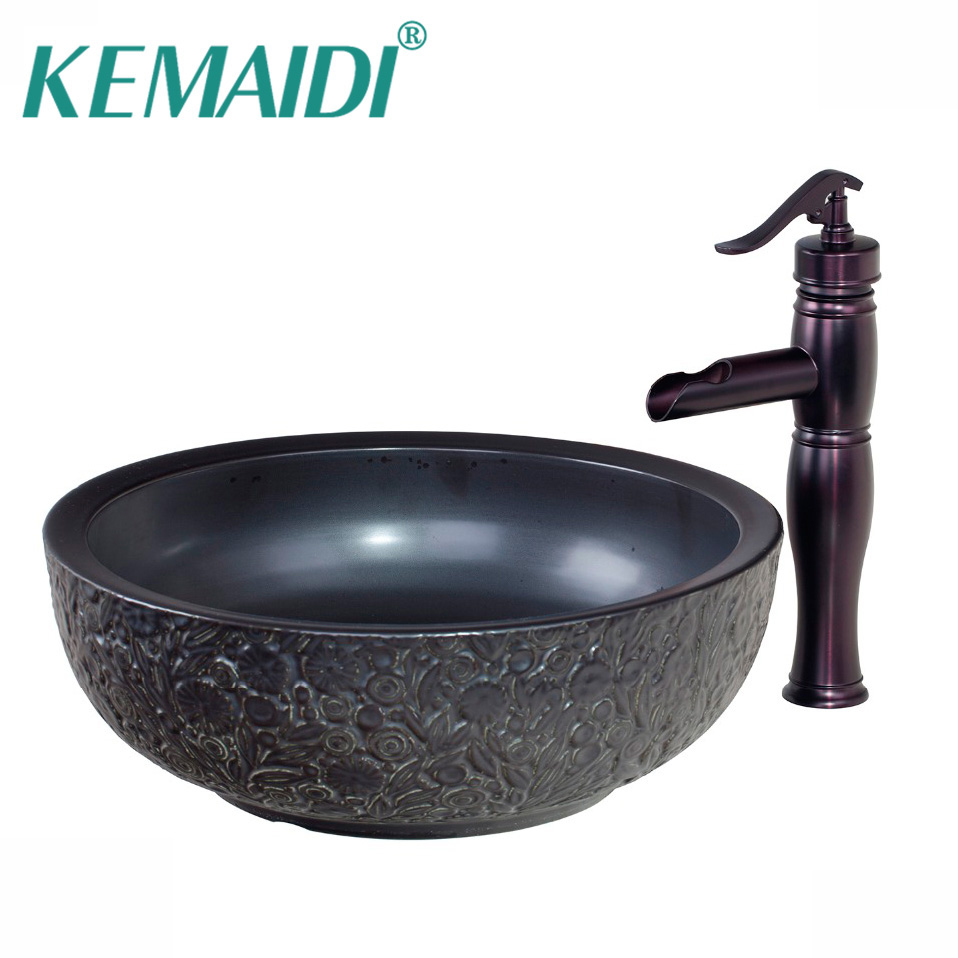 KEMAIDI Black Ceramic Bowl,Sink,Wash Oil Rubbed Bronze Faucet With ...
