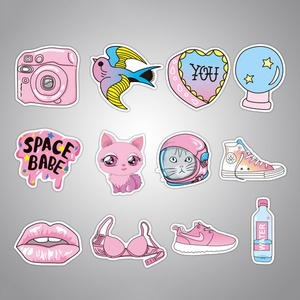 Image 3 - 50 pcs/pack Pink Fashion Style Graffiti Stickers For Moto car & suitcase cool laptop stickers Skateboard sticker