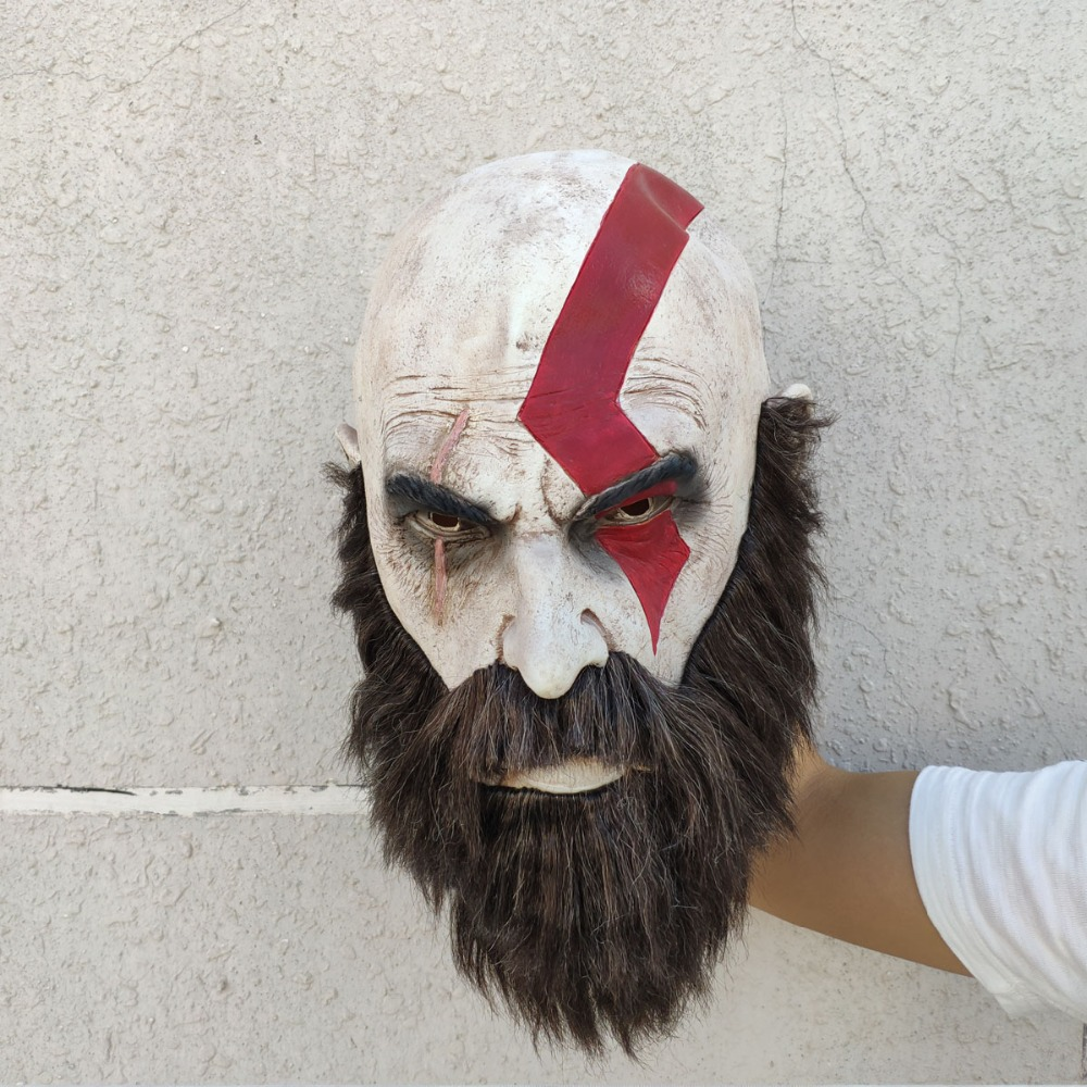 Game God Of War 4 Mask with Beard Cosplay Kratos Horror Latex Masks Helmet Halloween Scary Party Props New 2018 DropShipping in Boys Costume Accessories from Novelty Special Use