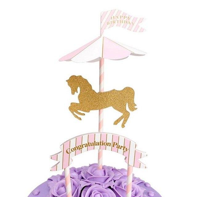 Rosa Azul Carrossel Arco Cartão da Inserção bolo Do Partido Decoração Festa de  Aniversário Feliz Lindo 917e8a03af861