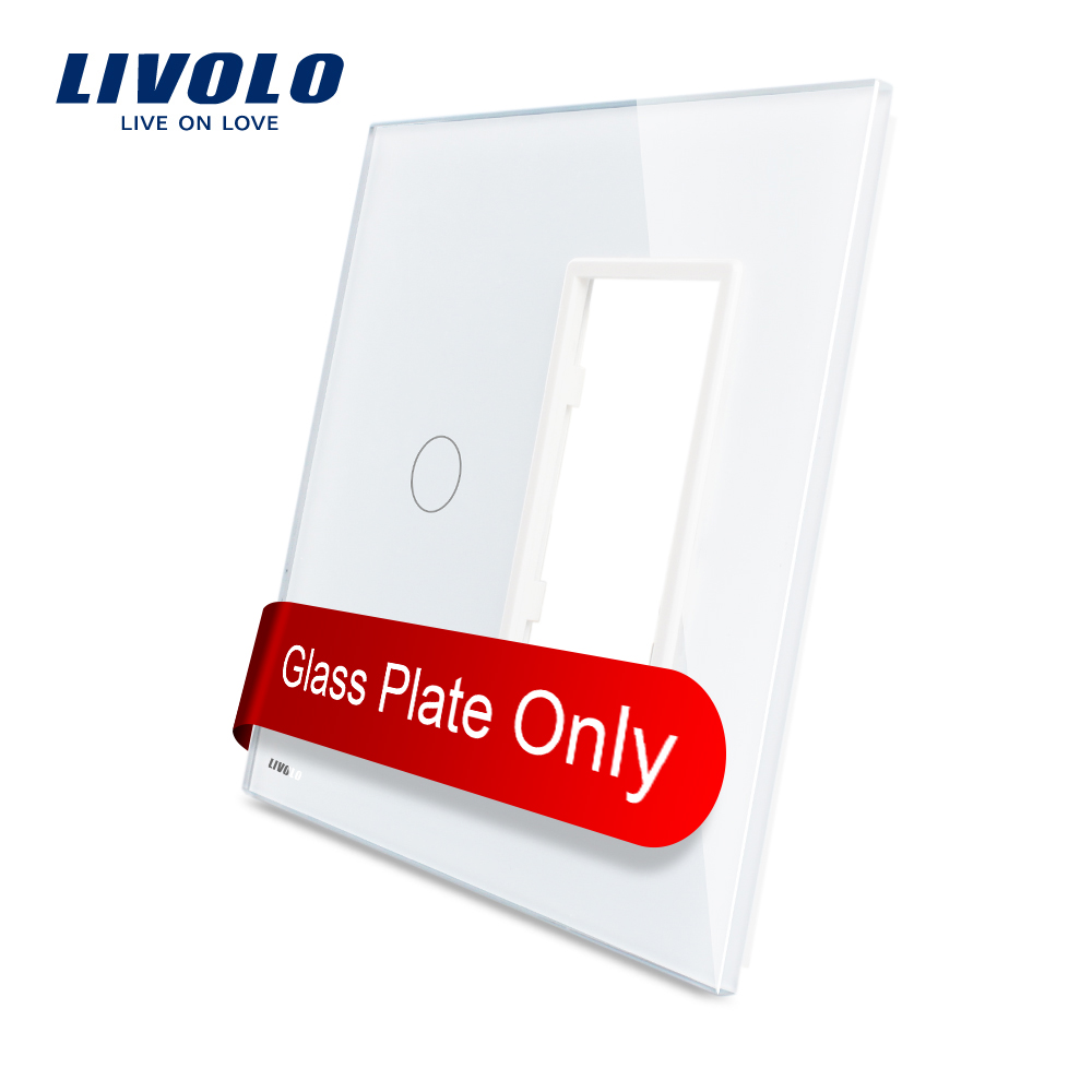 Livolo UNS standard Luxus Weiß Perle Kristall Glas, 1 Gang & 1 Rahmen Glas Panel, VL-C5-C1/SR-11/12