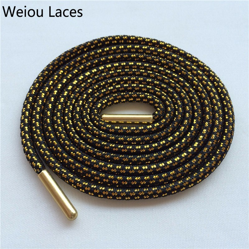 Weiou Cross Grain Black Gold Shoe Laces Sports Speckled Glitter Strings Round Novelty Dress Shoelaces Stretch For Martin Boots