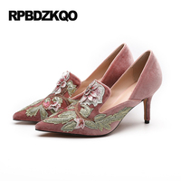 Pointed Toe Floral Scarpin Women Velvet 4 34 Small Size Pink Wedding Shoes High Heels Pumps