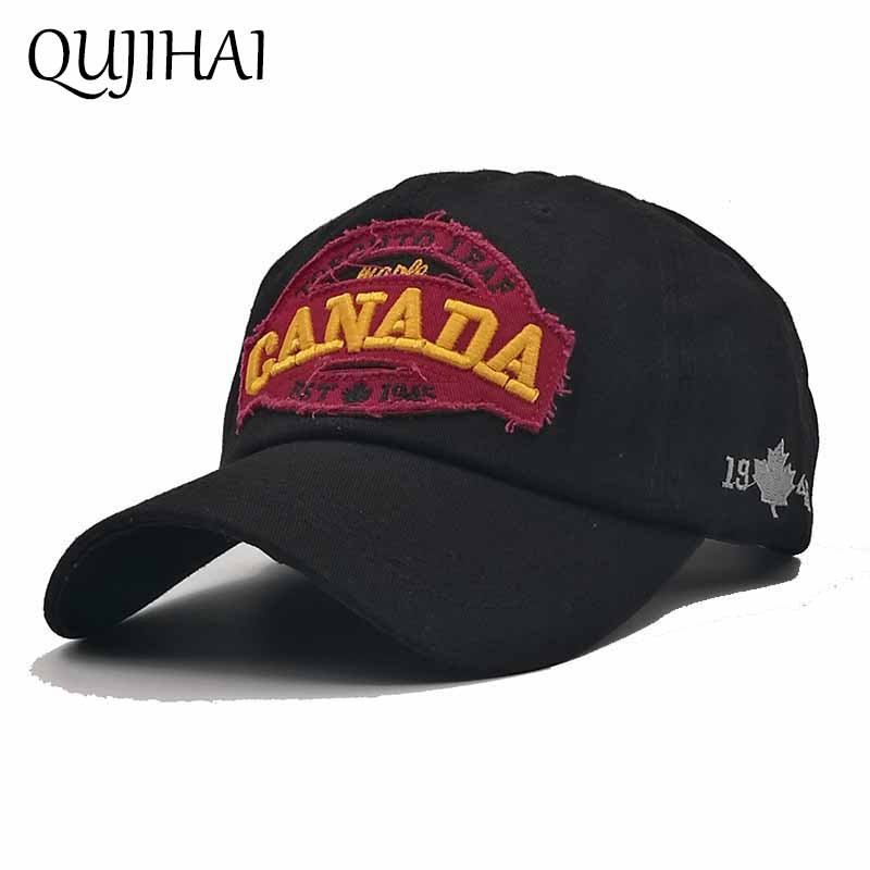 QUJIHAI Cotton Baseball Cap Brand Maple Leaf CANADA 1945 Fitted Hat 4 Colors Snapback Caps Men Women Unisex Bone Gorras brand winter hat knitted hats men women scarf caps mask gorras bonnet warm winter beanies for men skullies beanies hat