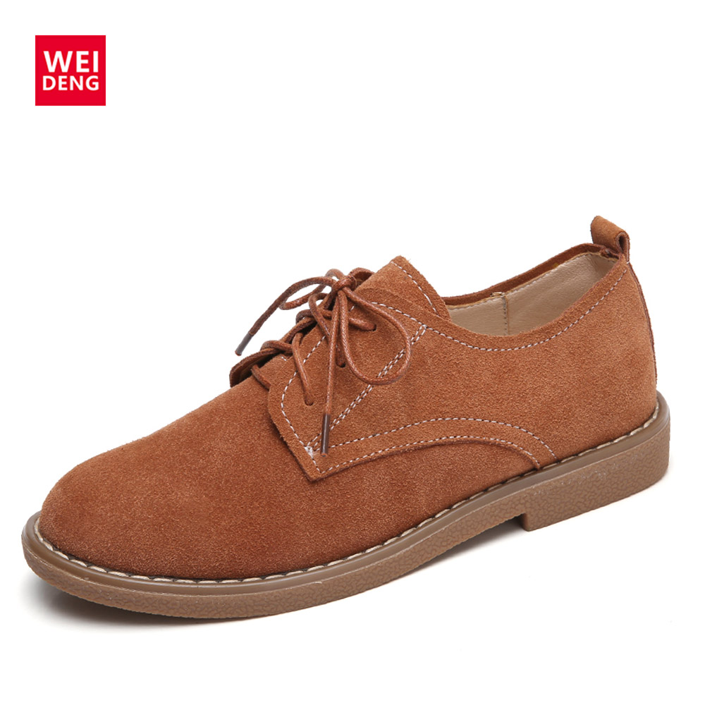 WeiDeng Genuine Leather Cow Suede Flats Oxford Loafers Winter Shoes Lace Up Women Casual Non Slip Fashion Zapato Winter weideng cow suede genuine leather loafers shoes handmade women casual boat fashion soft footwear flats slip on ladies autumn