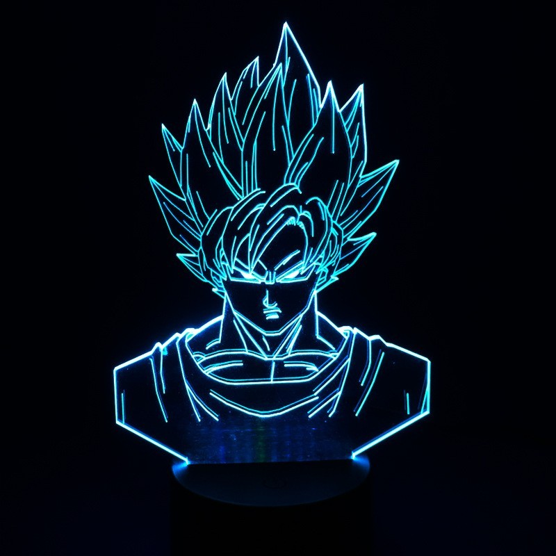 Dragon Ball Z Super Saiyan God Goku Action Figures 3D Table Lamp 7 Color Changing Night Light for Boys Kids Gifts