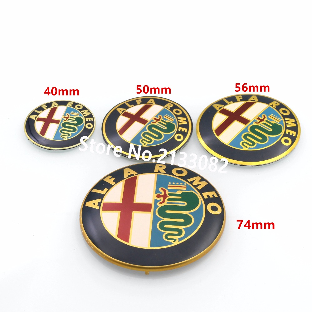 2pcs Gold 40mm 50mm 56mm 74mm ALFA ROMEO Car Logo emblem Badge sticker for Mito 147 156 159 166 Giulietta Spider GT alfa romeo 166 2 4 в ростове