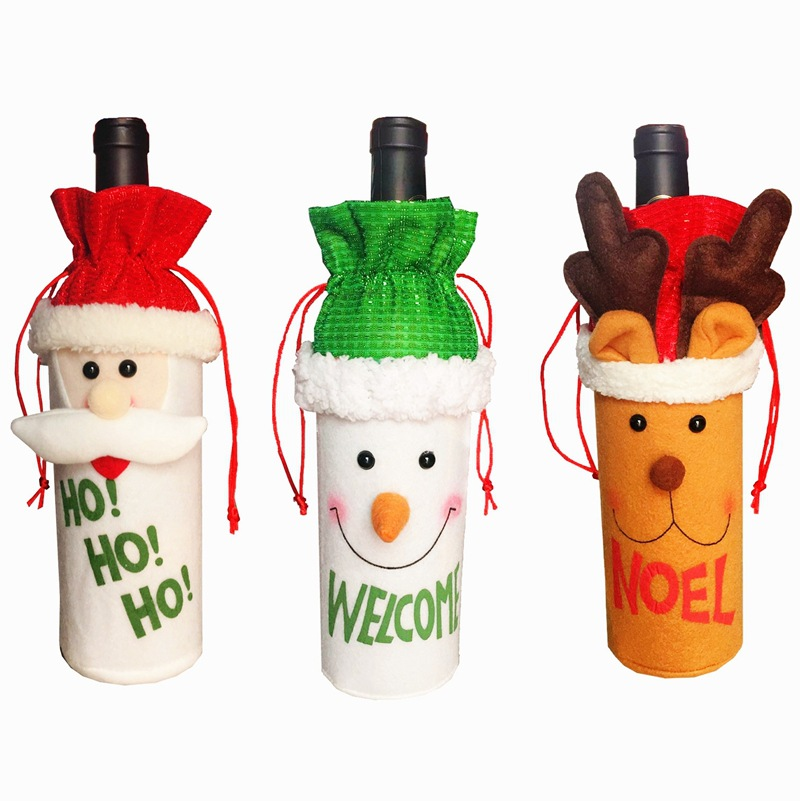 1pc HO HO HO Santa Claus Snowman Elk Gift Bags Welcome Noel Christmas Red Wine Bottle Cover Table Party XMAS Gift Supplies