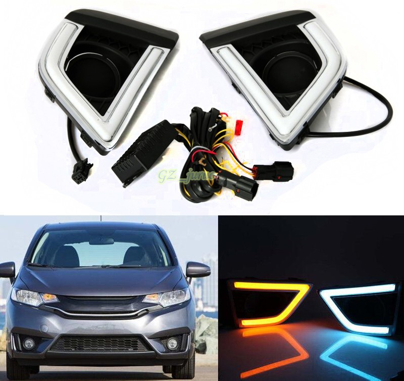 LED Daytime Running Light  For Honda Fit/Jazz 2014 2015 2016 with yellow turn signal and night blue light optional functions поло print bar мой пони