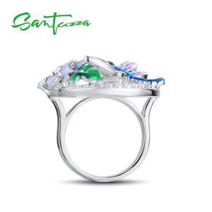 Image 3 - SANTUZZA כסף טבעת עבור נשים טהור 925 סטרלינג כסף עדין שפירית פרח מעוקב Zirconia תכשיטים בעבודת יד אמייל