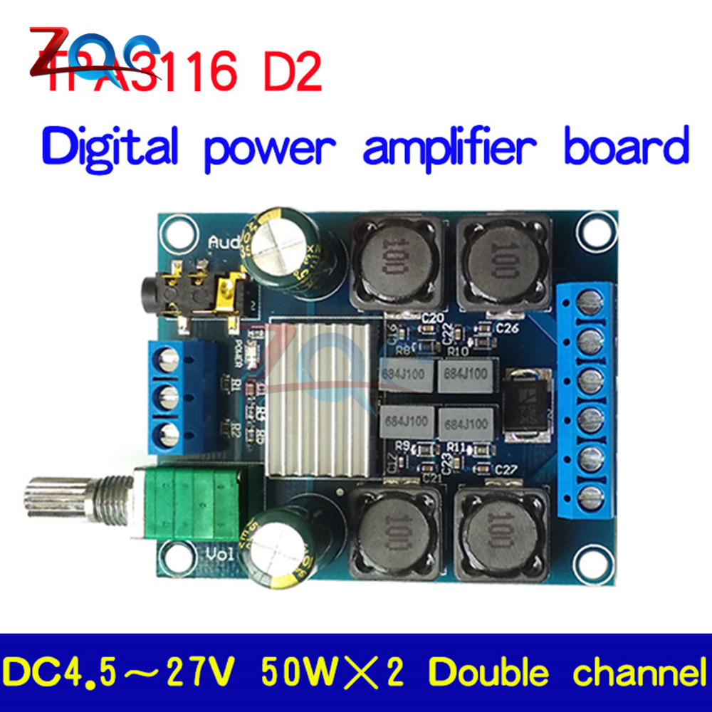 50wx2 Tpa3116d2 Dual Channel Dc 45 27v Digital Power Amplifier Figure 3 Diy Tda2050 Hifi Schematic Board Two Stereo High Efficiency 50w In Instrument Parts Accessories From