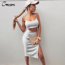 CWLSP Sexy Womens 2 Pieces Summer Dress 2018 Fashion Spaghetti Strap Corp Top With Suede Splite Asymmetrical Elbise QZ2812