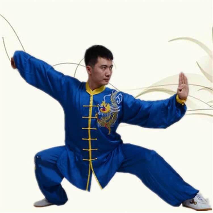 長袖太極拳セットドラゴン embroid カンフーシャツとパンツ武道の衣類中国の唐スーツ武術の摩耗 t130