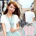 12 Cores do Verão Das Mulheres Com Decote Em V de Malha Casual Solto Manga Curta Blusas Cardigans Senhora Tricô Ponto Aberto Outwear