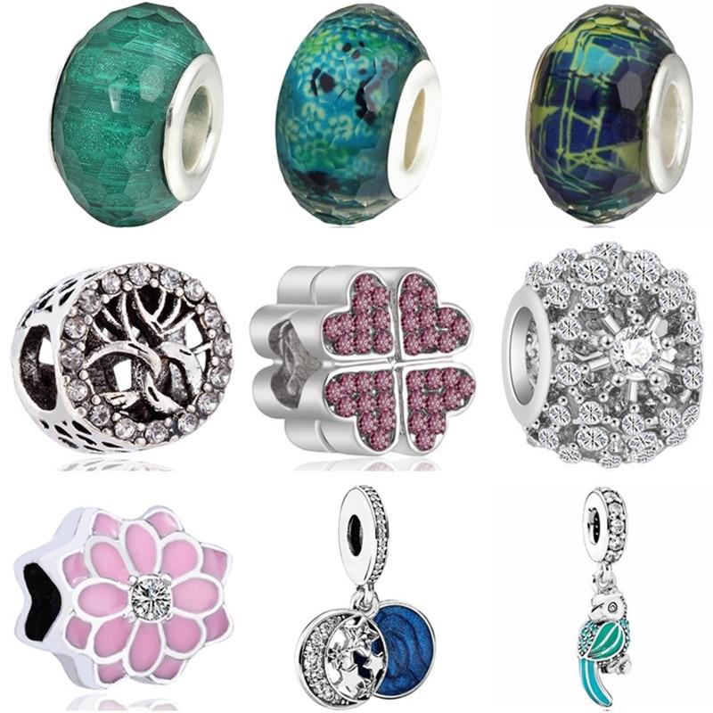Bead Charms Jewelry Flower Leaves Original Pandora Women Enamel Fit for Birthday-Gift