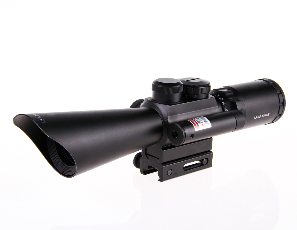 2016 NEW Tactical M8 Shooting Hunting Riflescope 3.5-10x40 Rifle Scope Optical Scopes With Red Laser Light kandar 6 18x56q front tactical riflescope big objective with glass plate riflescope military equipment for hunting scopes