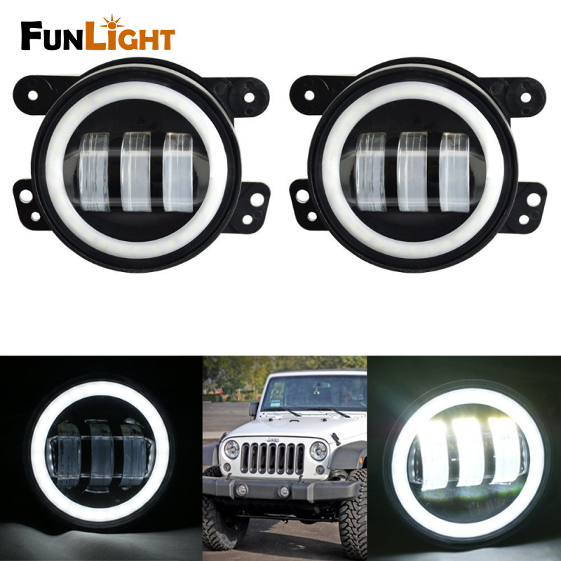 Funlight 4 inch  Led Fog Lights with White Halo Ring DRL for 1997-2017 Jeep Wrangler JK TJ Dodge Chrysler цена 2017