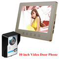 Wired 10 inch HD LCD Home Apartment Video Door Phone intercom System 1 Monitor 1 Door bell Camera